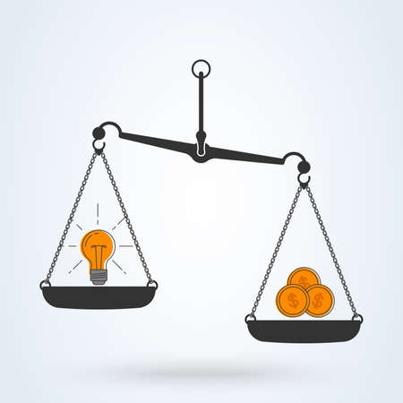 Light bulb idea and money on scales color icon. Vector flat line art design business concept Ilustrace