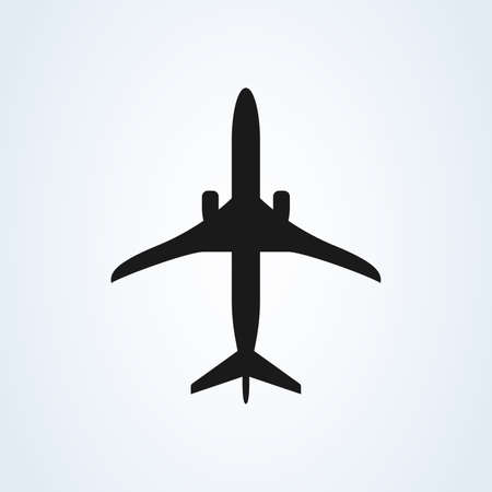 Aircraft or Airplane Icon top Vector Silhouette Иллюстрация