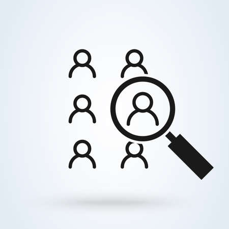 Human resources search thin line isolated flat vector icon Ilustrace