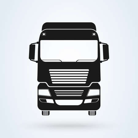 truck front icon vector illustration. Isolated on White. Freight Solutions. Trucking Logo