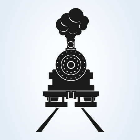 old train front icon vector on white background, old locomotive pictogram logotype. Иллюстрация