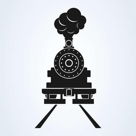old train front icon vector on white background, old locomotive pictogram logotype. Stock Illustratie