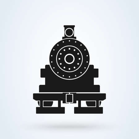 old train front icon vector on white background, old locomotive pictogram logotype. Фото со стока - 133659310