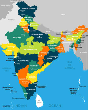 illustration of detailed map of India, Asia with all states and country boundary 일러스트