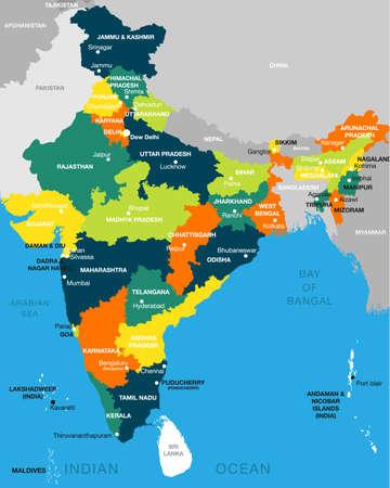 Ilustración del mapa detallado de la India, Asia con todos los estados y límites del país