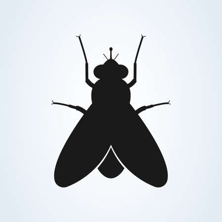 Fly icon silhouette vector illustration isolated on white background Foto de archivo - 133659314