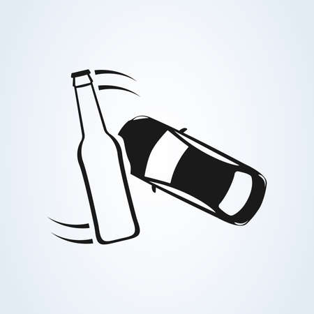 car crash, accidents and drunk icon. Alcohol influence driving causes car crash Standard-Bild - 133659370