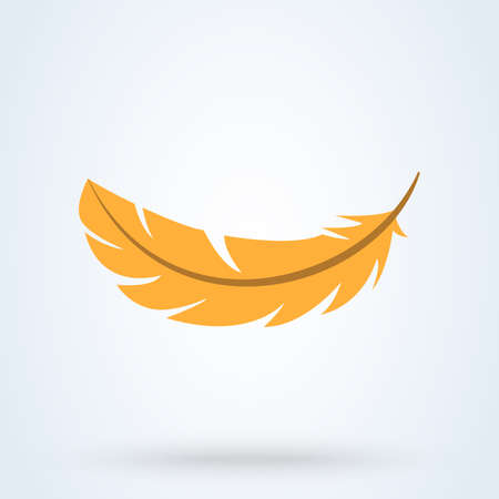 Yellow feather on white background. Vector illustration. Flat illustration of yellow feather icon