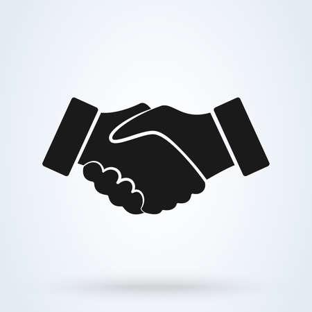 Vecteur de partenariat d'amitié de poignée de main. Icône de poignée de main noire pour les entreprises