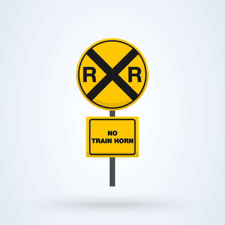 Yellow Rail Sign - Railroad warning. Simple vector modern icon design illustration. Ilustração
