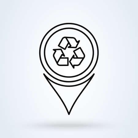 Refresh Map Marker. line art Location pointer Simple vector modern icon design illustration.