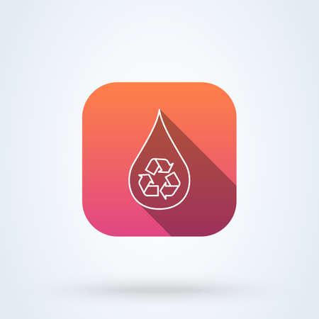 Recycle water droplet and conservation. outline vector modern icon design illustration. Ilustração