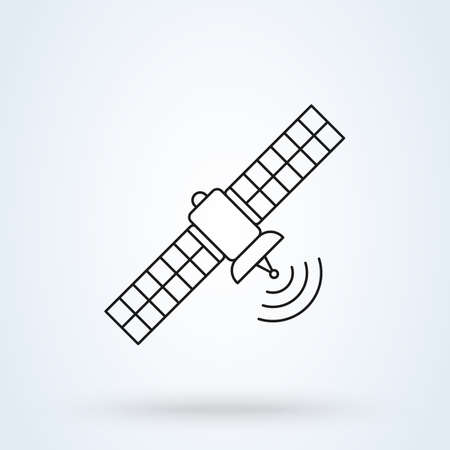 satellite and Space station. Simple vector line modern icon design illustration.