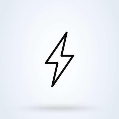 Thunder and Lightning. Line art Simple vector modern icon design illustration Ilustração
