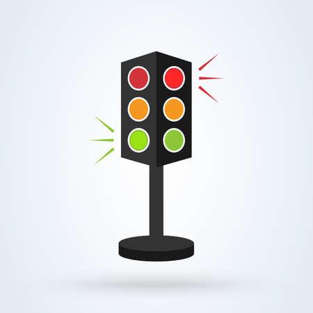 Traffic lights 3d. Simple vector modern icon design illustration. Ilustração