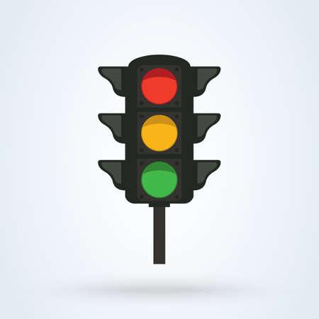 Traffic light Flat style. Simple vector modern icon design illustration.