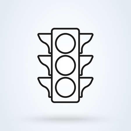 Traffic light. line art Simple vector modern icon design illustration.