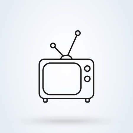 tv old. Outline Simple vector modern icon design illustration.