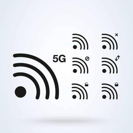 wireless signal set 5G. Simple vector modern icon design illustration. Ilustração