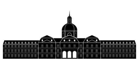 Hôpital Salpêtrière architecture historique france. Illustration de conception moderne de vecteur simple.