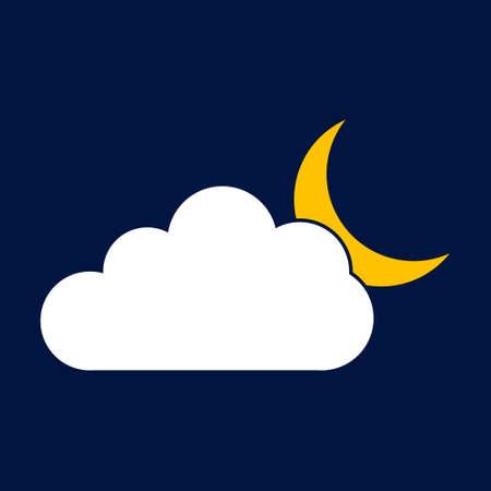 moon cloud. Simple vector modern icon design illustration. Ilustracja