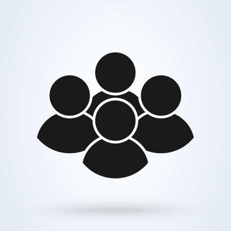 Group of people. Simple vector modern icon design illustration. 向量圖像