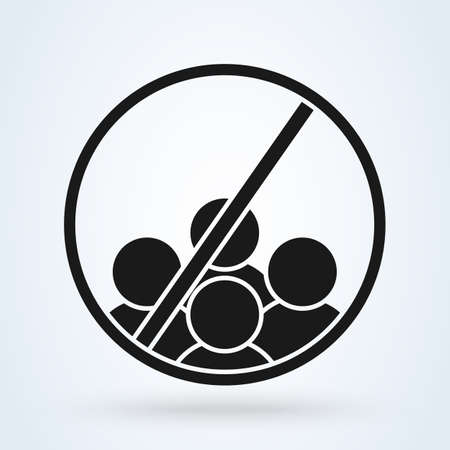 No or Stop. Group sign. Simple vector modern icon design illustration. Illustration