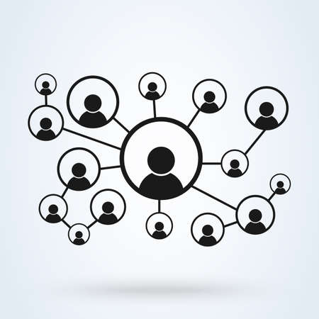 network and business group, Simple vector modern icon design illustration. Ilustração