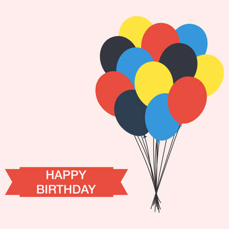 Happy Birthday celebration for greeting card, poster or banner. beautiful balloons
