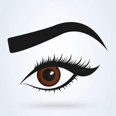 Female eye and eyebrow. eyes Simple vector modern design illustration.