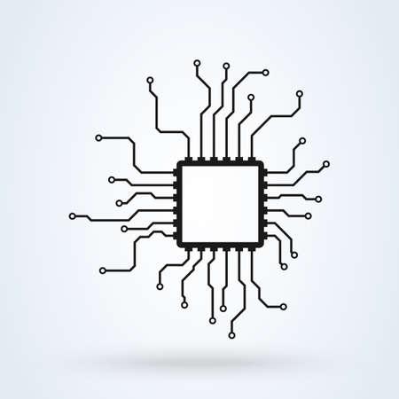 Processor Chip. CPU Microprocessor vector modern icon design illustration