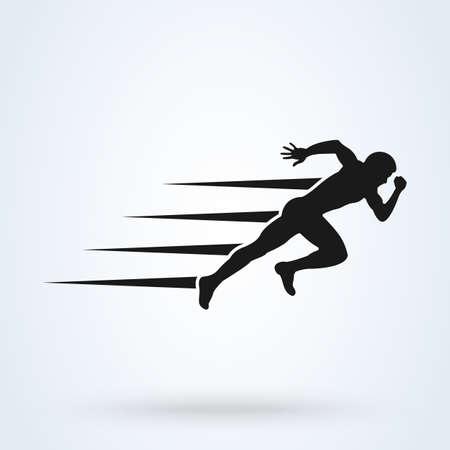 silhouette running man, start.  Simple vector modern icon design illustration.