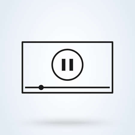 pause, Video player for web and mobile. Simple vector modern icon design illustration.