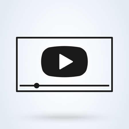 flat video player interface. Simple vector modern design illustration.