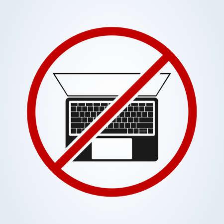 forbidden computer laptop, Simple vector modern icon design illustration.