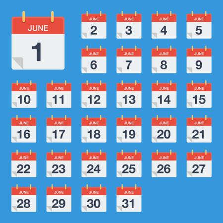 Flat calendar June Icon. Calendar on the wall. Vector illustration.