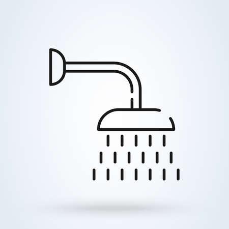 shower and line bathroom, vector modern icon design illustration. Illustration