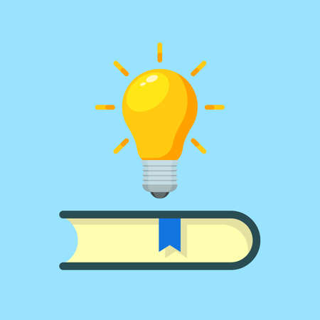book with bulb and Idea concept flat. vector modern design illustration