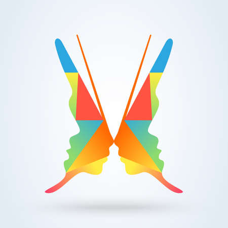 Woman's face in butterfly wings shape. Abstract design concept for beauty vector Illustration