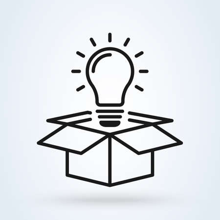Idea lamp box line art. Simple vector modern icon design illustration.