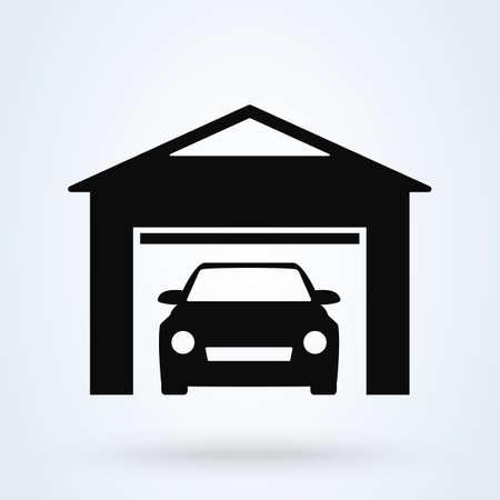 Garage with car logo. vector modern icon design illustration Ilustração