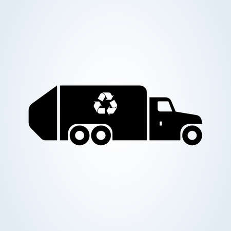 garbage, recycle truck. Simple vector modern icon design illustration. 向量圖像