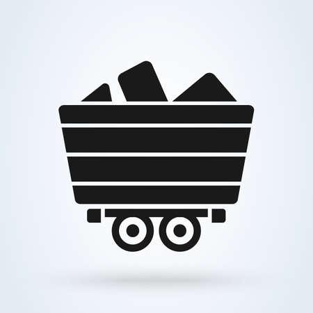 Mine Cart Simple vector modern icon design illustration.