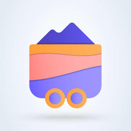 Mine Cart flat cute. vector modern design illustration. Vectores