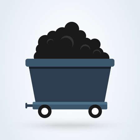 Mine Cart flat. vector modern design illustration. Vectores