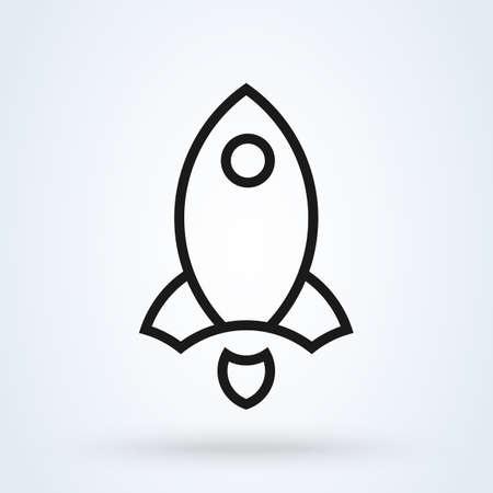 Outline rocket ship. vector modern icon design illustration Ilustração