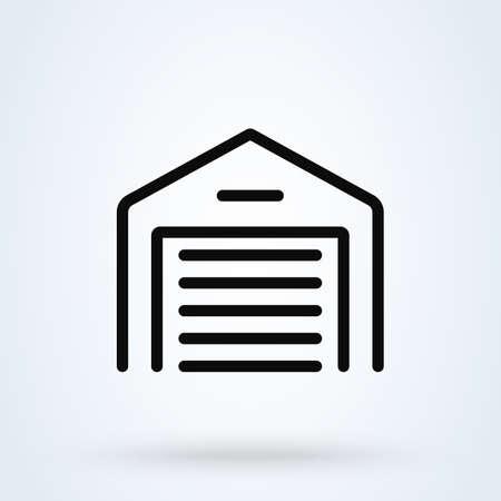 car Garage Door. line vector modern icon design illustration Ilustração