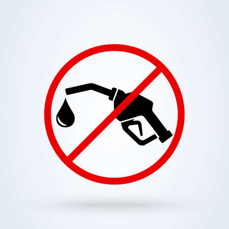 Gas Pump forbidden, Simple vector modern icon design illustration.