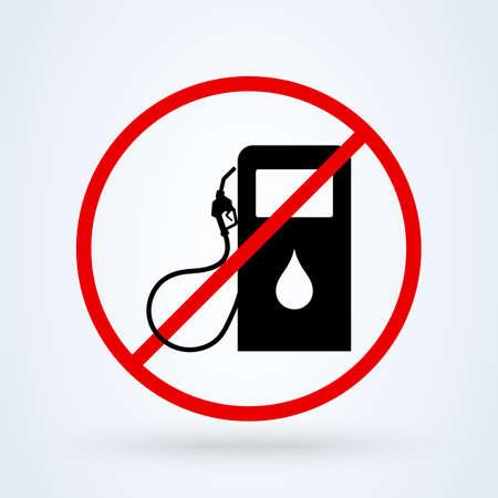 Gas Pump forbidden, Simple vector modern icon design illustration. Reklamní fotografie - 137118092