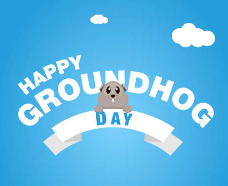 Happy Groundhog Day greeting, vector modern design illustration
